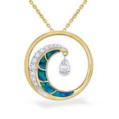 Yellow Gold Wave Shimmer Pendant with Opal Inlay and Pavé Diamonds (Chain Included) - Pendants - Jewelry Type