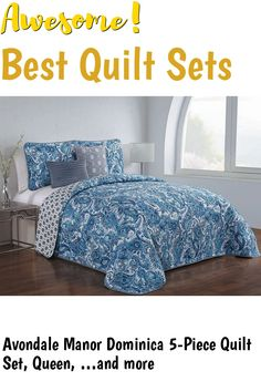 Avondale Manor Dominica 5-Piece Quilt Set, Queen, Blue ... (This is an affiliate link) #quiltsets