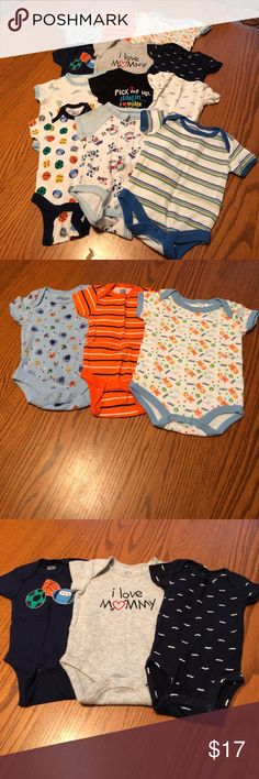 "12 Onesies Bundle                       EUC & NWOT All NB Onesies, some were worn, some weren't. All made by different makers. There are: 1 says ""pick me up darlin...I ❤️ older chicks"", 2 with animals, 2 with sports, 1 says ""I love mommy"", 2 striped, 1 with car, 1 with monsters, 1 with mustaches & 1 with glasses. Great worn by themselves, with shorts or pants. No rips, tears or stains on any of them. Don't like the price? Make me a reasonable offer.  JCTNB-52 All different makers One Pieces"