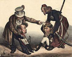 Caricatura representando os dois irmãos D. Pedro IV e D. Miguel a brigar pela coroa portuguesa (por Honoré Daumier, 1833).D.Miguel I de Portugal – Wikipédia, a enciclopédia livre