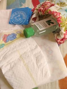 Quick diaper change baby shower gift, each bag has antibacterial, a diaper, wipes, etc for a single use