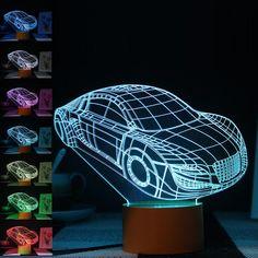 Roadster Car Model 3D Led Light 7 Color RGB Night Lamps Home Illumination Bedroom Decor Lighting Desk Lampe Table Lampara LEDs #Affiliate