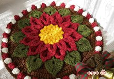 ポインセチアの円座  (Crochet Seat Cushion - Xmas Poinsettia)