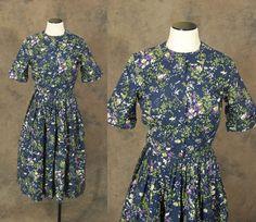 Clearance SALE vintage 50s Dress Midnight Blue Floral Dress