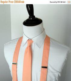 c651f4517eb BLACK FRIDAY SALE Peach Necktie and Suspenders by kellybowbelly Wedding Ties