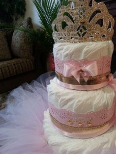 Three Tier Gold And Pink Princess Diaper Cake by TheCarriageShoppe