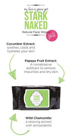 When it is time to take it all off, reach for your Stark Naked wipes. Take off your make-up and pamper your skin with these hydrating face wipes. Get a pack now at perfectlyposh.com