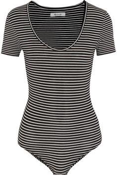 Madewell - Lennon Striped Stretch Cotton-blend Jersey Bodysuit - Black