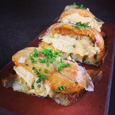 Uni lobster tartine oh just version one by Chef Adam Sobel.