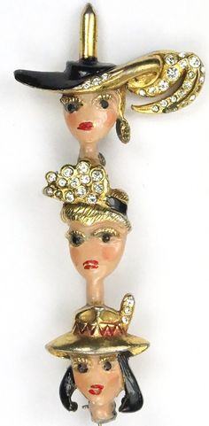 Painted Lady Girl Face Doll Brooch Vintage 80s Red Lips Black and Gold Head Cover Baseball Hat Beret Scarf Pin at The Back Collectible Item