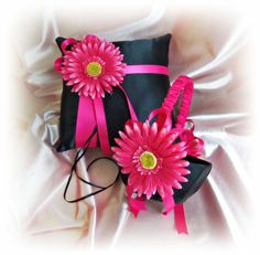 Gerber Daisy Weddings Ring Pillow Basket  Black Hot by All4Brides, $65.00