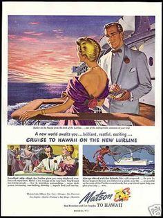 Matson Lines Cruise Ship Lurline Hawaii Art (1949)