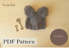 Baby Two pompon hat, PDF Pattern, Knitting pattern, Knit baby hat, Newborn Photo prop, Xmas, Knit your own, Pompon hat by daryacrochetlife. Explore more products on http://daryacrochetlife.etsy.com