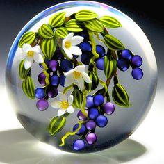 "Colin Richardson Paperweight - Blueberry Cascade Bouquet. 2013. 3 1/3""w x 2 1/3""t, 19.25oz."