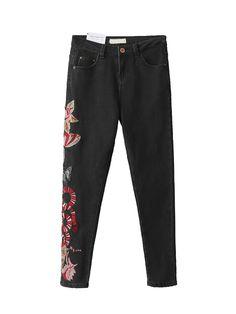 Джинсы женские стрейч эластичные брюки Бабочки и Змеи вышитые тощий женщины карандаш брюкикупить в магазине Shang Hai Yi Rui StoreнаAliExpress