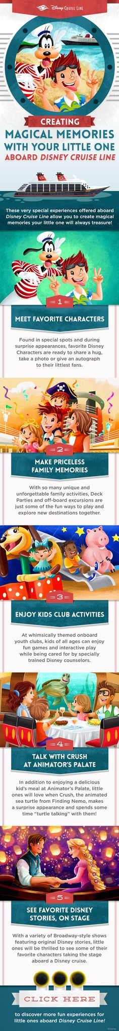 Disney Cruise Line offers very special experiences onboard that allow you to create magical memories your little ones will always treasure. Learn more about Disney Cruise Line at www. Disney Planning, Disney Tips, Disney Fun, Trip Planning, Disney Travel, Disney Fantasy, Disney Destinations, Disney Vacations, Vacation Planner