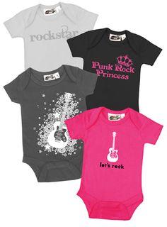 Baby Rockstar Girls 4 One Piece Set - My Baby Rocks cool punk rock pink & black rocker baby girls onesie gift set - awesome baby shower gifts