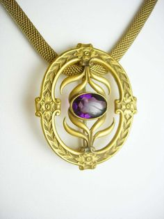 Antique Victorian Necklace & Sash Pin brooch Amethyst jeweled Czech Pendant 1900's early period piece interchangable mesh snake chain