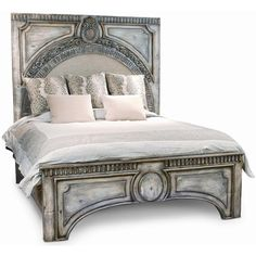 Ornate Gray Wash Amelie Bed (€2.905) ❤ liked on Polyvore featuring home, furniture, beds, bedroom, backgrounds, filler, ornate beds, king bed, grey wash furniture and king head board