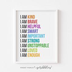 Self Esteem Affirmations, Positive Affirmations For Kids, Daily Affirmations, Cute Teacher Gifts, Preschool Art, Movement Preschool, Preschool Learning, Affirmation Quotes, Motivational Posters