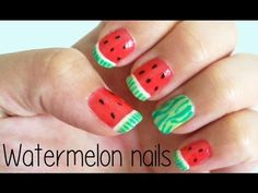 Watermelon Nails by Bubzbeauty (i like her so ! Kawaii Nail Art, Cute Nail Art, Cute Nails, Watermelon Nail Art, Fruit Nail Art, Hair And Nails, My Nails, Fruit Nail Designs, Posh Nails