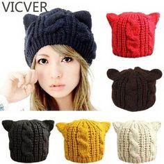 4b98040425dd0 2018 Devil Horns Cat Ears Hat Ladies Beanie Crochet Knit Cap Fashion Autumn  Women Knitted Woolen Hats Winter Beanies Warm Caps