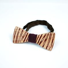 OKTIE Striped Wooden Bow Tie Handmade Bowtie Wood Accessories Gift for Men Ash curved bow tie Brown