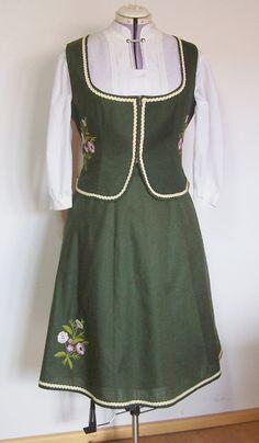 Vintage Trachtenmode - Dirndl Zweiteiler, grün, Stickerei, Gr. 48/XL
