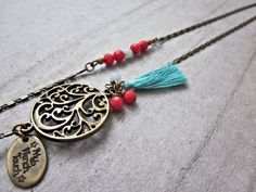 Sautoir indian spirit pierres fines. : Collier par my-french-touch