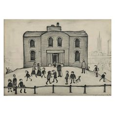 """Laurence Stephen Lowry. """"Old House"""", 1950. Paper, pencil."""