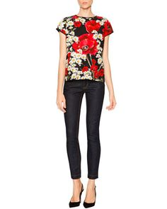 Cap-Sleeve Poppy & Daisy T-Shirt & Mid-Rise Skinny Jeans by Dolce & Gabbana at Neiman Marcus.