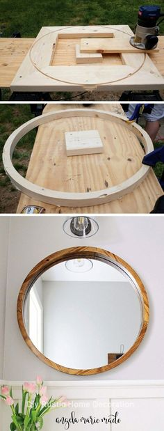 Plans of Woodworking Diy Projects - Plans of Woodworking Diy Projects - How to build a round wood framed mirror for le . Round Wooden Mirror, Wood Framed Mirror, Diy Mirror, Mirror Ideas, Mirror Makeover, Round Mirrors, How To Cut Mirror, Round Wood Table, Square Mirrors