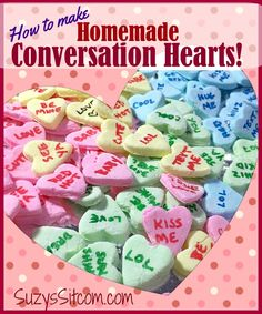 How to make Homemade Conversation Heart Candies! heart candy How to make Homemade Conversation Heart Candies! Homemade Valentines, Valentine Treats, Valentines Day Party, Valentine Craft, Printable Valentine, Funny Valentine, Homemade Candies, How To Make Homemade, Meals