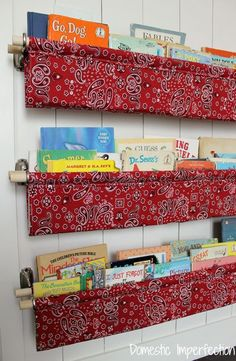 Tutorial on making book slings. GREAT idea, perfect for storing kids books!