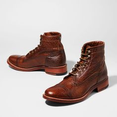 These men's lace-up leather boots merge Western-inspired lines, distinctive materials and traditional hand finishing. Crafted in the USA with American bison leather, they're the perfect combination of distinguished, old world style and modern, new world sensibility. Mens Boots For Sale, American Bison, Old World Style, Leather Boots, It Is Finished, Leather Shoes