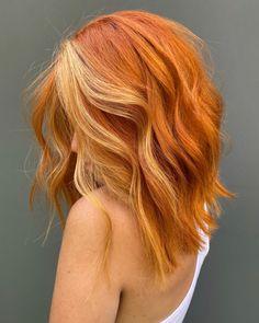 Hair Color Streaks, Hair Highlights, Orange Highlights, Elumen Hair Color, Golden Highlights, Cheveux Oranges, Ginger Hair Color, Ginger Hair Dyed, Ginger Blonde Hair