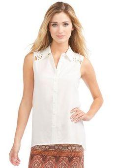 Cato Fashions Lattice Shoulder Sleeveless Shirt-Plus #CatoFashions
