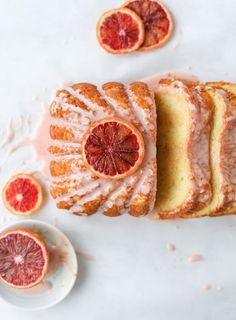 This blood orange yogurt cake is absolutely delightful and perfect for citrus season! It's made in a loaf pan and uses freshly squeezed blood orange juice and zest, along with greek yogurt for a wonderful lightness. It's amazing for breakfast or for desse Just Desserts, Delicious Desserts, Dessert Recipes, Yummy Food, Summer Desserts, Dessert Ideas, Cake Recipes, Gourmet Desserts, Plated Desserts