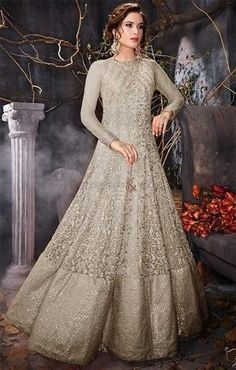 #DesignersAndYou Order Now Tempting Grey #Party Wear Sequins #Anarkali For #Indian Skin Tones #Online. This Empire Waist #FullLength #Long #Frock Comprise Of Crew Neck & #FullSleeves. Sequins, #Embroidered & #DiamondWork Are Added Underlining Santoon Fabric. Broad Edge Are Accomplishing It For #PartyWear.