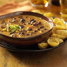 Chili Cheese Dip    Grab your favorite corn chip and dip into this cheese, spicy appetizer.