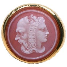 Late 19th c Men's Hardstone Cameo Ring with Rare Three Headed Depiction of the three stages of man, youth warrior and old man. One man on each side and one on top. The gold ring has fluted sides and a half round polished shank. The stone is from 1850-1900 - late 19th c /early 20th c