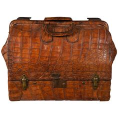 A Very Fine Vintage Alligator Two Part Valeise | From a unique collection of antique and modern trunks and luggage at http://www.1stdibs.com/furniture/more-furniture-collectibles/trunks-luggage/