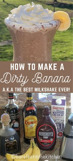 Blend up a Dirty Banana tonight and discover your new favorite milkshake! (classic and non-alcoholic recipes included) alcohol recipes The Best Ever Dirty Banana Cocktail Liquor Drinks, Cocktail Drinks, Cocktail Recipes, Bourbon Drinks, Bartender Drinks, Banana Cocktails, Beste Cocktails, Dirty Banana Recipe, Banana Recipes