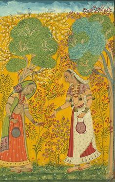 Vasanti Ragini, Folio from a Ragamala series (Garland of Musical Modes), [detail], ca. 1710, India (Himachal Pradesh, Bilaspur), ink, opaque watercolour, and gold on paper, 18.6 x 11.7 cm, The Metropolitan Museum of Art, New York, United States of America, source: metmuseum.org.