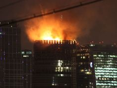 Fire on what was designed to be the highest building Europe