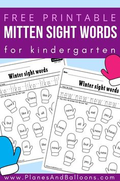 Winter sight words worksheets for kindergarten free printable. Great addition to your sight words activities for kindergarten at home or literacy centers in class. Free Kindergarten Worksheets, Kindergarten Lesson Plans, Kindergarten Literacy, Literacy Centers, Literacy Games, Literacy Stations, Sight Words Printables, Sight Word Worksheets, Sight Word Activities