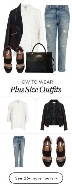 """""""Turn it Around // Lucius"""" by lola-styleson on Polyvore featuring River Island, Current/Elliott, Zizzi and Hermès"""