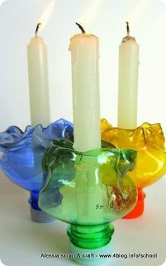 plastic bottle to candle holder