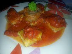 The White Truffle: Cubetti di polenta con pomodorini e braciola di maiale aromatizzata