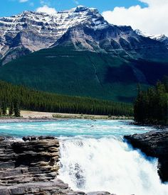 Athabasca Falls At Dusk, Jasper, Alberta, Canada: